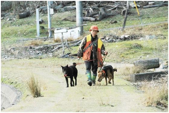 猟に向かう吉井さんと猟犬2匹
