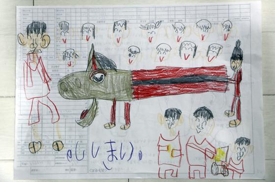 長女・紗季ちゃんが幼稚園の時に描いた麒麟獅子の絵。紗季ちゃんの描く絵は、岡本さんも「かなわない」という。