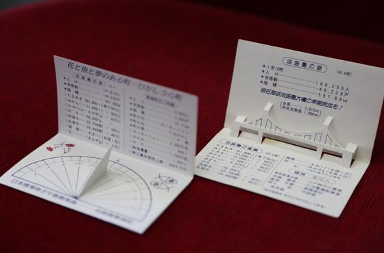 くにうみの祭典(昭和60年)の頃作った名刺(奥)と日時計にもなる考案の名刺