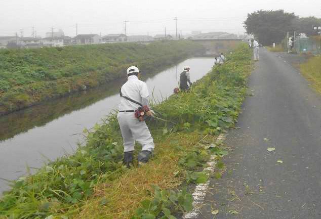 ごみが日本一少ない町をめざし柏原川の清掃を定期的に行っている。