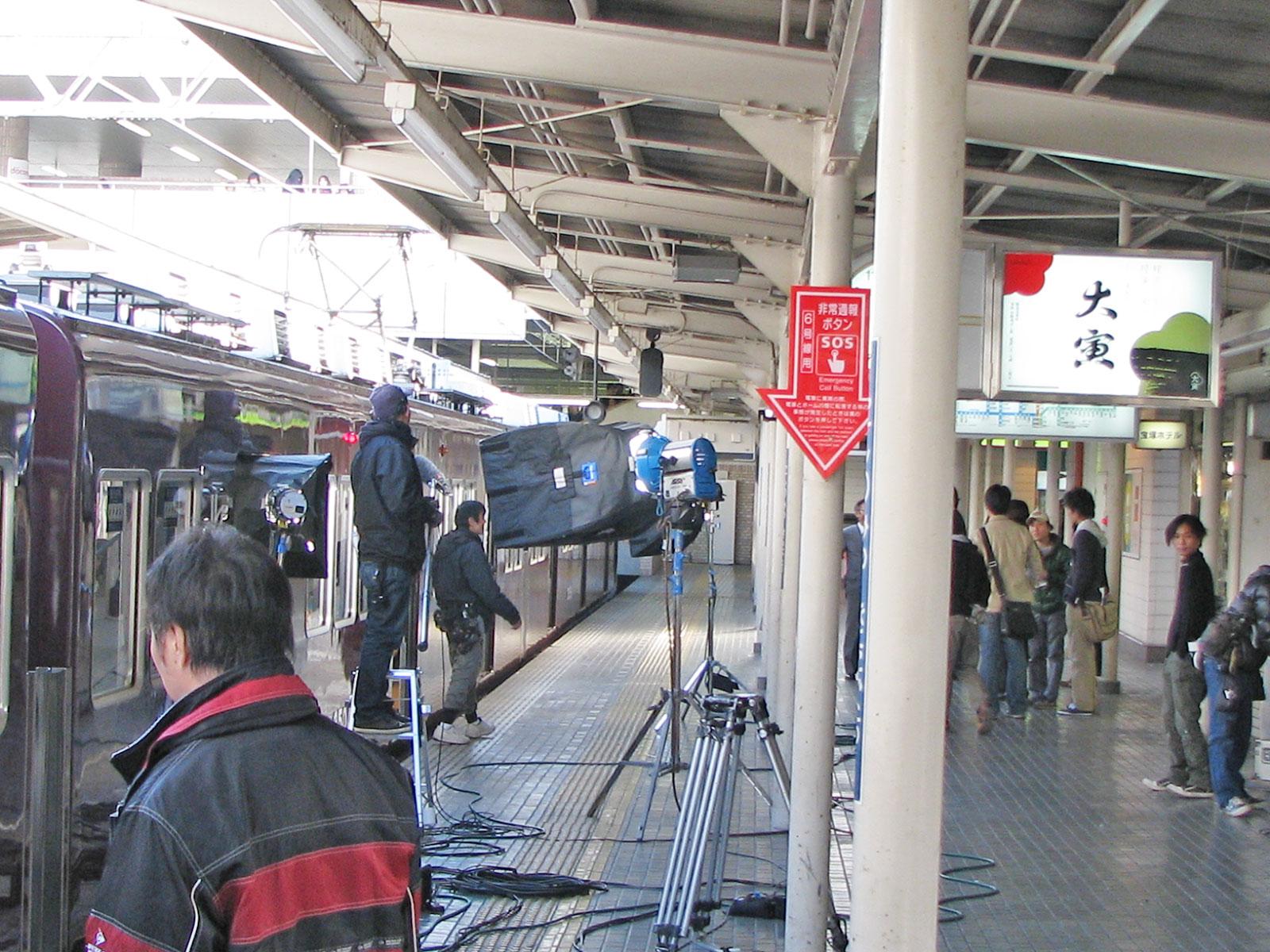 平成23年に公開された映画「阪急電車」の撮影風景。西宮流は西宮市でのロケ地選定に協力。