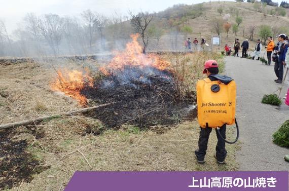 地元会員によって山に放たれた火が飛び火しないよう参加者たちが活動を見守る「上山高原の山焼き」